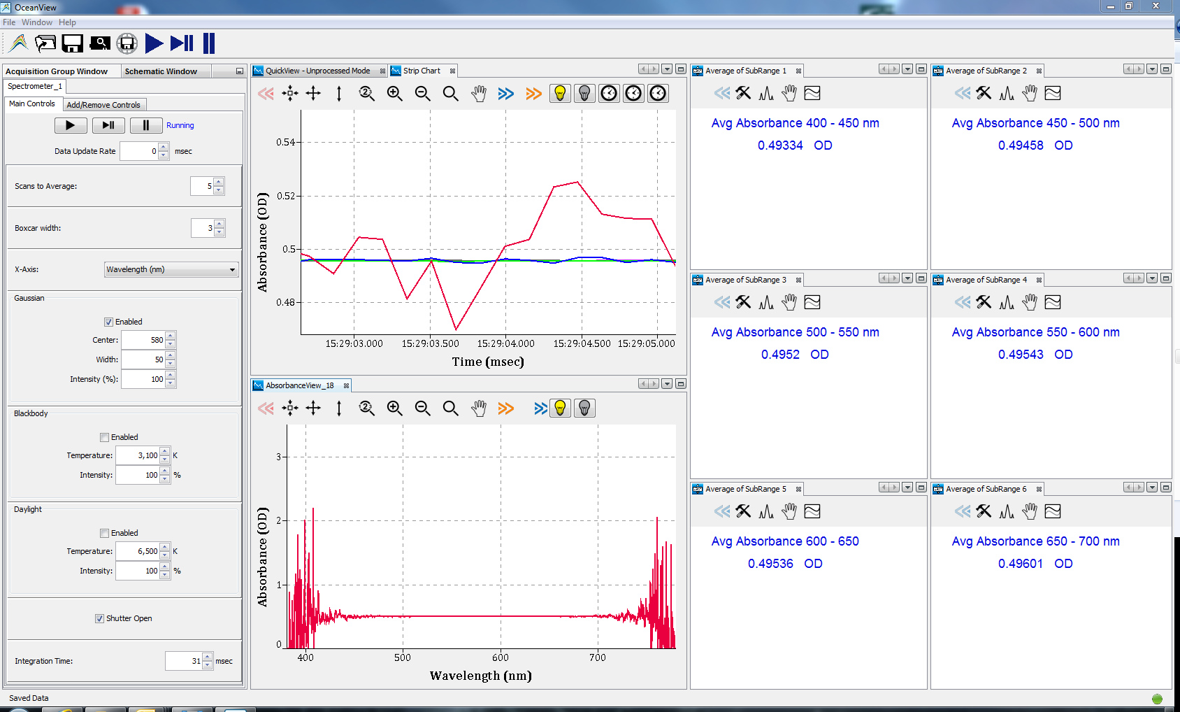 ocean view spectroscopy software exeample